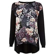 Buy Warehouse Peony Print Front Jumper, Black Online at johnlewis.com