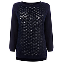 Buy Warehouse Stitch Front Jumper, Navy Online at johnlewis.com