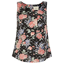 Buy Oasis Spot Chintz Floral Vest, Multi Black Online at johnlewis.com