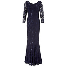 Buy Gina Bacconi Sequin Fishtail Dress, Navy Silver Online at johnlewis.com
