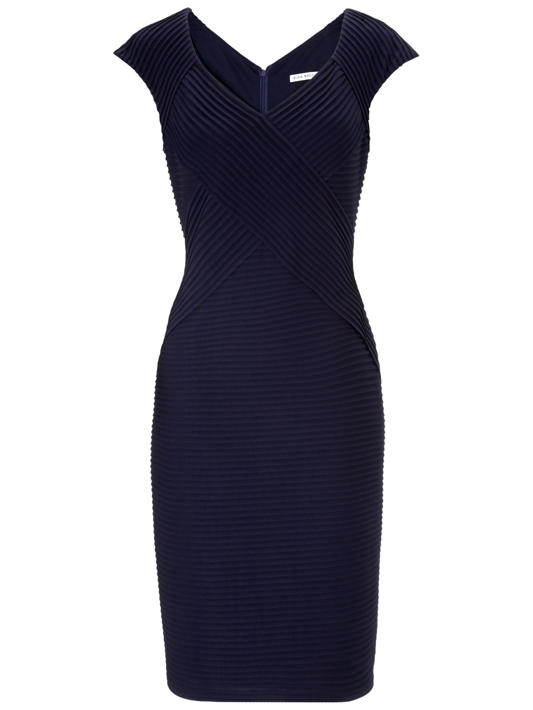 Gina Bacconi Pintuck Jersey Dress, Spring Navy