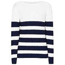 Buy Reiss Luka Chunky Striped Jumper, Cream Online at johnlewis.com