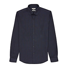 Buy Reiss Fluxus Curved Collar Dogtooth Shirt, Navy Online at johnlewis.com