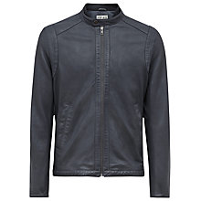 Buy Reiss Chatsworth Stitch Detail Leather Jacket, Blue Online at johnlewis.com