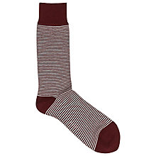 Buy Reiss Stroheim Striped Socks, Burgundy Online at johnlewis.com