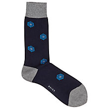 Buy Reiss Becker Flower Motif Socks, One Size, Indigo/Grey Online at johnlewis.com