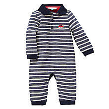Buy John Lewis Baby Stripe Sleepsuit, Navy/White Online at johnlewis.com