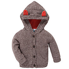 Buy John Lewis Fox Ear Hooded Knit Cardigan, Brown Online at johnlewis.com