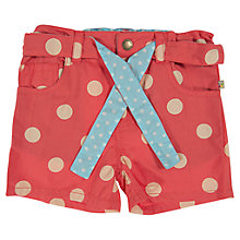 Buy Frugi Girls' Polka Dot Shorts, Red Online at johnlewis.com