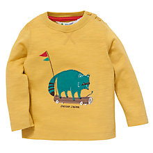 Buy John Lewis Raccoon Applique Top, Mustard Online at johnlewis.com