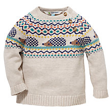Buy John Lewis Intarsia Knit Hedgehog Jumper, Stone/Multi Online at johnlewis.com