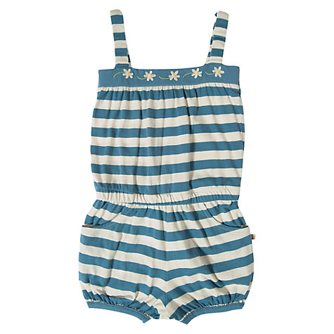Buy Frugi Girls' Stripe Jersey Playsuit, Blue/Cream Online at johnlewis.com