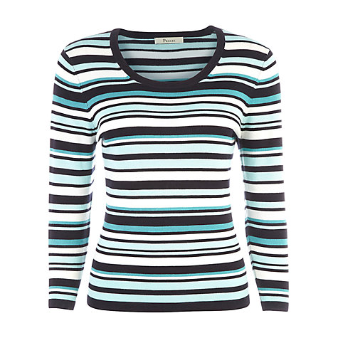 Buy Precis Petite Striped Jumper, Aqua Online at johnlewis.com