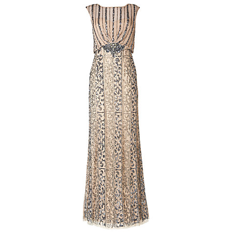 Buy Phase Eight Collection 8 Kensington Full Length Dress, Ivory/Pewter Online at johnlewis.com