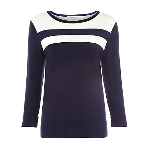 Buy Windsmoor Contrast Knit Top, Navy Online at johnlewis.com