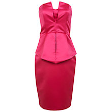 Buy Miss Selfridge Bandeau Peplum Dress, Pink Online at johnlewis.com