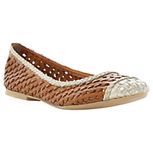 Buy Dune Madalyn Leather Ballerinas, Tan/Gold Online at johnlewis.com