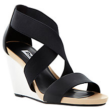 Buy Dune Georgey Fabric Cross Strap Two Part Wedge Sandals, Black / White Online at johnlewis.com