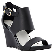 Buy Dune Givara Two Part Ankle Cuff Side Buckle Wedge Platform Leather Sandals, Black Online at johnlewis.com