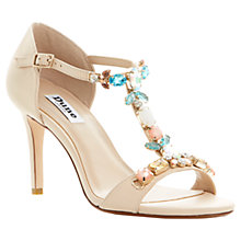 Buy Dune Hummingbird Chunky Jewelled T-Bar Stiletto Leather Sandals, Nude Online at johnlewis.com