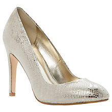 Buy Dune Burlesque Reptile Print Stiletto Court Shoes, Champagne Online at johnlewis.com