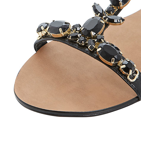 Buy Dune Khloe Jewel Embellished T- Bar Flat Sandals, Black Online at johnlewis.com