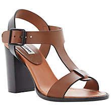 Buy Dune Flock T-Bar Stacked Heel Buckle Sandals Online at johnlewis.com