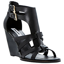 Buy Dune Gerad Leather Wedge Sandals, Black Online at johnlewis.com