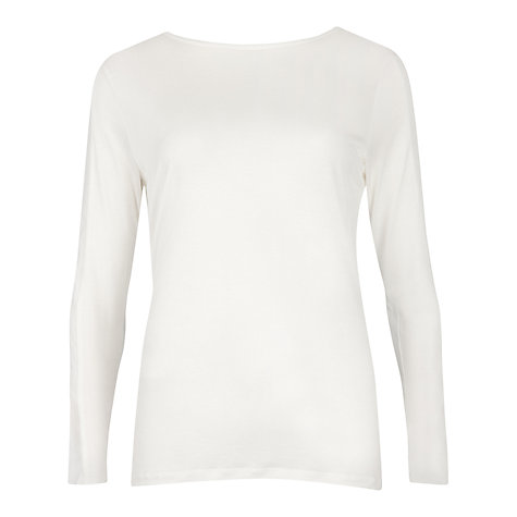 Buy Ted Baker Gwlyn Crew Neck Long Sleeved Top, Cream Online at johnlewis.com