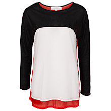 Buy French Connection Cera Block Colour Top, White/Black/Souk Sunrise Online at johnlewis.com