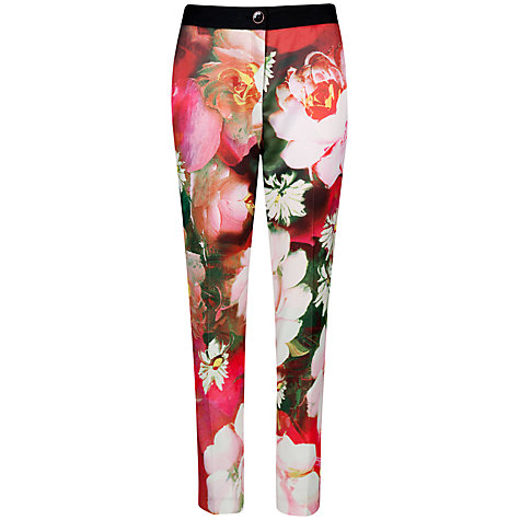 Buy Ted Baker Tiina Rose Print Trousers, Bright Pink Online at johnlewis.com