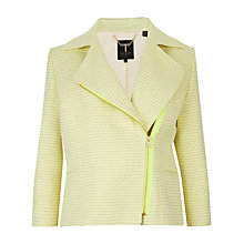 Buy Ted Baker Noira Cropped Boucle Biker Jacket, Lemon Online at johnlewis.com