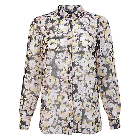 Buy Miss Selfridge Blurred Floral Shirt, Yellow/Grey Online at johnlewis.com