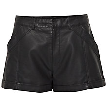 Buy French Connection Albany Faux Leather Shorts, Black Online at johnlewis.com