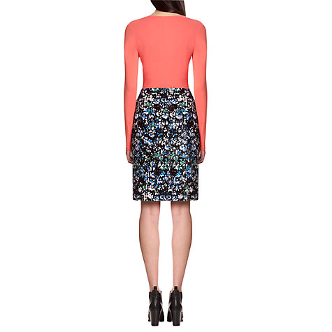 Buy Jigsaw Brushed Rose Print Skirt, Black Online at johnlewis.com