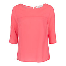 Buy French Connection Penny Round Neck Top, Party Pink Online at johnlewis.com