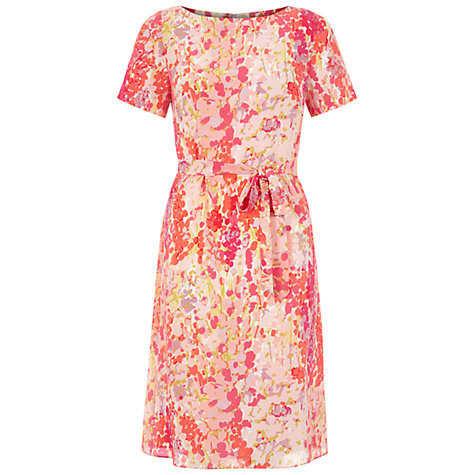 Buy Hobbs Silk Foxglove Dress, Ivory Multi Online at johnlewis.com