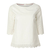 Buy White Stuff Coney Island Embroidered Top, Vanilla Cream Online at johnlewis.com