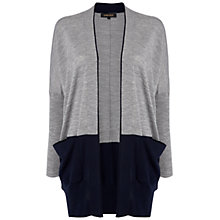 Buy Jaeger Merino Colour Block Cardigan, Grey / Navy Online at johnlewis.com