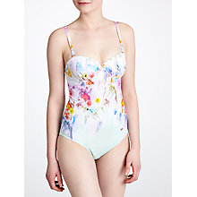 Buy Ted Baker Casee Floral Printed Swimsuit, Pale Green Online at johnlewis.com