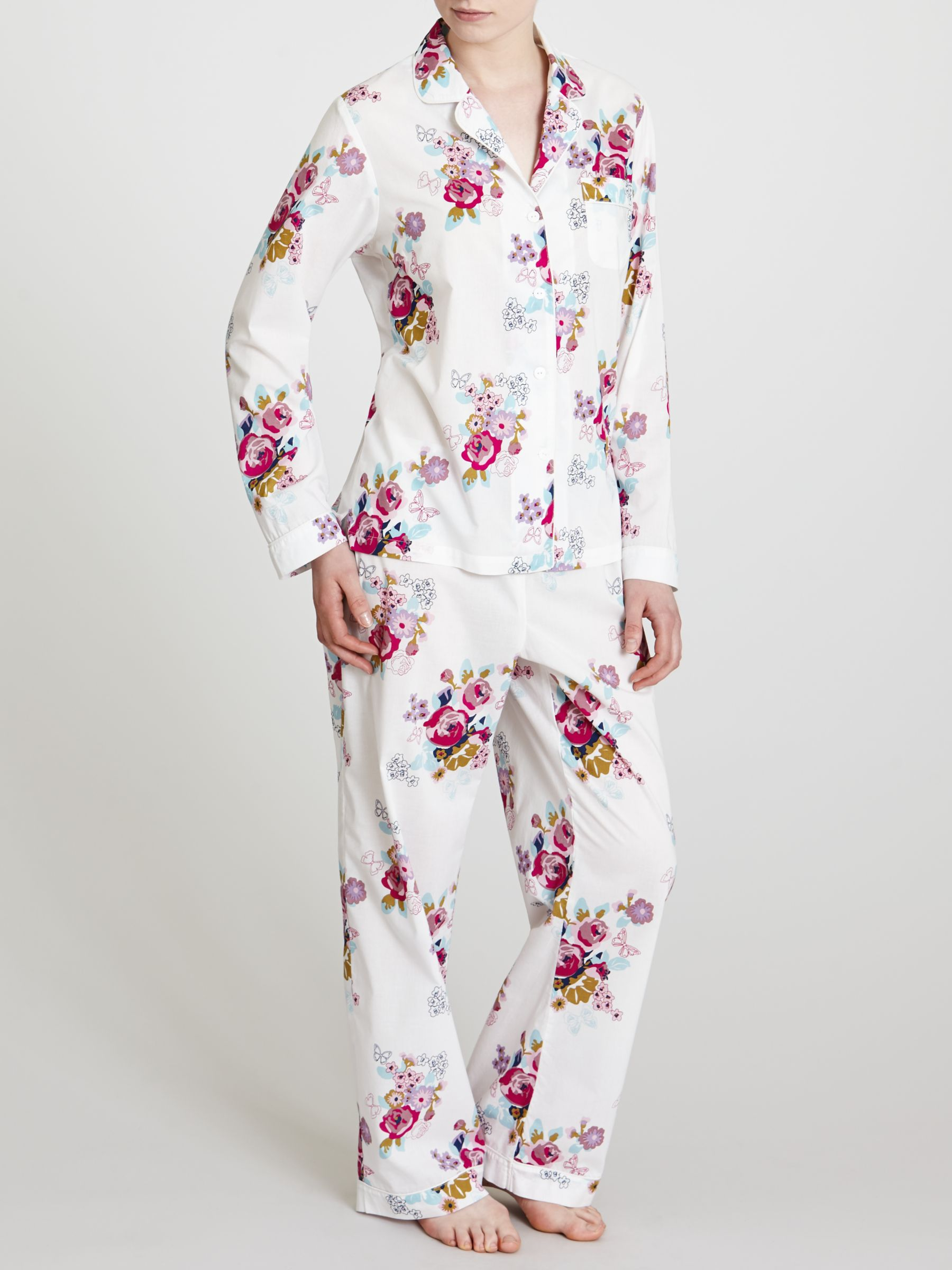 John Lewis Rose Print Pyjama Set, Multi / White