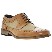 Buy Dune Bart Leather & Canvas Wing Tip Brogues, Tan Online at johnlewis.com
