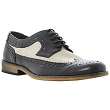 Buy Dune Bart Leather & Canvas Wing Tip Brogues, Black Online at johnlewis.com
