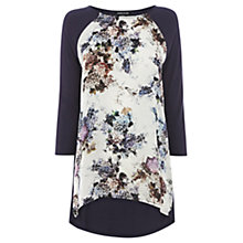 Buy Warehouse Cluster Floral Print Long Sleeve Top, Navy Online at johnlewis.com
