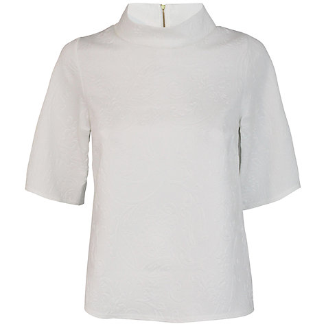 Buy Closet Embossed Collared Top, White Online at johnlewis.com