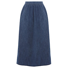 Buy Warehouse Denim Midi Skirt, Mid Wash Online at johnlewis.com