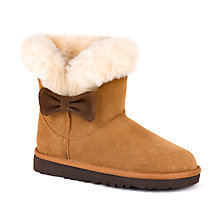 Buy UGG Children's Kourtney Bow Boots, Chestnut Online at johnlewis.com