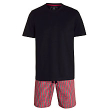 Buy John Lewis Check Cotton Lounge Shorts and Short Sleeve T-Shirt, Red/Navy Online at johnlewis.com