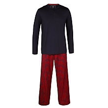 Buy John Lewis Gingham Cotton Lounge Pants and Long Sleeve T-Shirt, Red/Navy Online at johnlewis.com