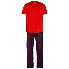 Buy John Lewis Check Cotton Lounge Pants and Short Sleeve T-Shirt, Red/Grey Online at johnlewis.com